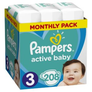 Πάνες Pampers Active Baby Νο 3 Monthly Box 208τμχ (6-10kg)