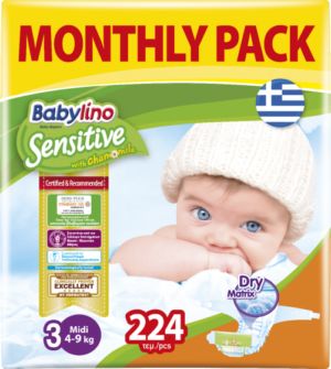 Πάνες Babylino Sensitive Monthly Pack No3 (4-9Kg) 224τεμ