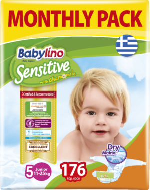 Πάνες Babylino Sensitive Monthly Pack No5 (11-25Kg) 176τεμ.